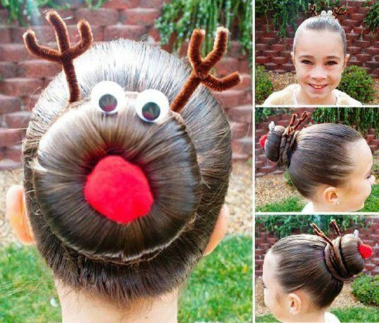This wouldn't be a Christmas list without a bit of Rudolph. If your little  darling loves the holiday season as much as the next one, perhaps she'd  like to ... - 12 Super Cute DIY Christmas Hairstyles For All Lengths Rapunzels