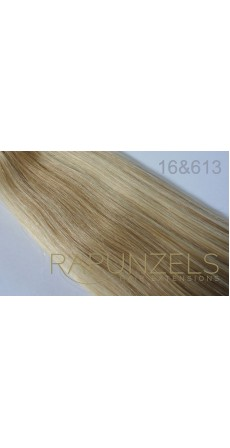 "190 Gram 20"" Clip In Hair Extensions Colour #16&613 Caramel Blonde & Bleach Blonde Mix 14 p/c Deluxe Head)"