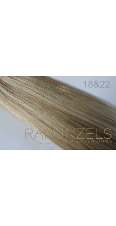 "190 Gram 20"" Clip In Hair Extensions Colour #18&22 Dark Blonde & Light Blonde Mix 14 p/c Deluxe Head)"