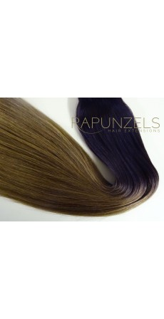 "1 Gram 16"" Pre Bonded Nail Tip Colour #1B to 8 Dip Dye Ombre (25 Strands)"