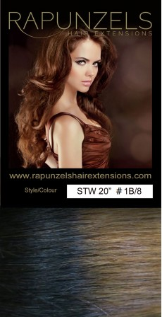 "65 Gram 20"" Hair Weave/Weft Colour #1B/8 Dip Dye/Ombre (Half Head)"
