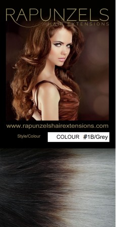 "65 Gram 18"" Hair Weave/Weft Colour #1B/Grey Dip Dye/Ombre (Half Head)"