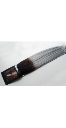 "110 Gram 18"" Hair Weave/Weft Colour #1B/Grey Natural Off Black to Silver Grey Dip Dye/Ombre (Full Head)"