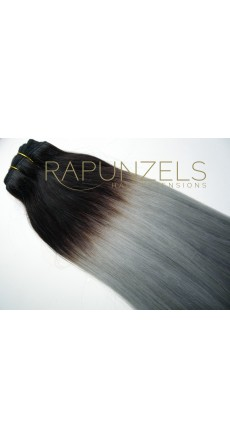 "65 Gram 20"" Hair Weave/Weft Colour #1B/Grey Dip Dye/Ombre (Half Head)"