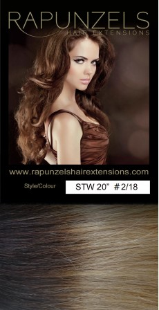 "110 Gram 18"" Hair Weave/Weft Colour #2/18 Dark Brown to Beige Blonde Dip Dye/Ombre (Full Head)"