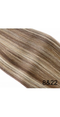 "110 Gram 18"" Hair Weave/Weft Colour #8&22 Light Brown & Blonde Streak (Full Head)"