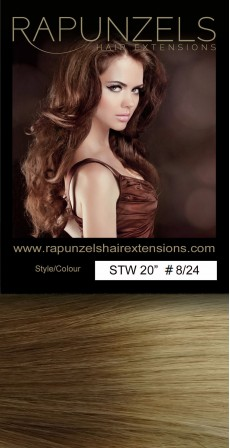 "110 Gram 18"" Hair Weave/Weft Colour #8/24 Light Brown to Golden Blonde Dip Dye/Ombre (Full Head)"