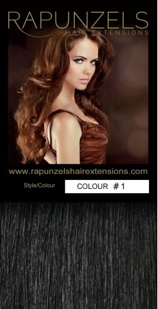 "100 Gram 20"" Clip In Hair Extensions Colour #1 Jet Black (7 p/c Full Head)"