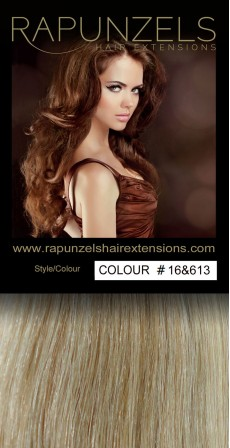 "100 Gram 20"" Clip In Hair Extensions Colour #16&613 Caramel Blonde & Bleach Blonde Mix (7 p/c Full Head)"