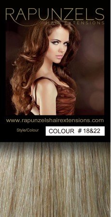 "100 Gram 20"" Clip In Hair Extensions Colour #18&22 Beige Blonde & Light Blonde Mix (7 p/c Full Head)"