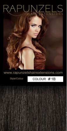"190 Gram 20"" Clip In Hair Extensions Colour #1B Natural Off Black (14 p/c Deluxe Head)"