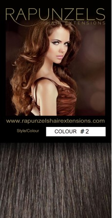 "190 Gram 20"" Clip In Hair Extensions Colour #2 Darkest Brown (14 p/c Deluxe Head)"