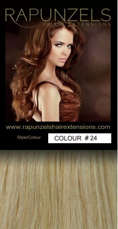 "100 Gram 20"" Clip In Hair Extensions Colour #24 Medium Gold Blonde (7 p/c Full Head)"