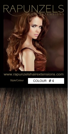"190 Gram 20"" Clip In Hair Extensions Colour #4 Medium Chocolate Brown (14 p/c Deluxe Head)"