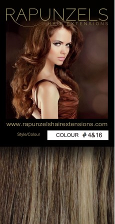 "110 Gram 18"" Hair Weave/Weft Colour #4&16 Chocolate Brown & Caramel Blonde Streak (Full Head)"
