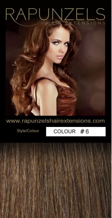 "190 Gram 20"" Clip In Hair Extensions Colour #6 Light Chestnut Brown (14 p/c Deluxe Head)"