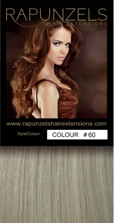 "190 Gram 20"" Clip In Hair Extensions Colour #60 Lightest Blonde (14 p/c Deluxe Head)"