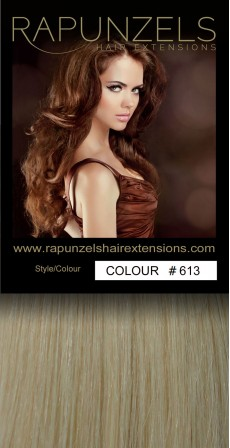 "190 Gram 20"" Clip In Hair Extensions Colour #613 Light Bleach Blonde (14 p/c Deluxe Head)"