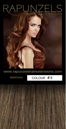 "190 Gram 20"" Clip In Hair Extensions Colour #8 Light Golden Brown (14 p/c Deluxe Head)"