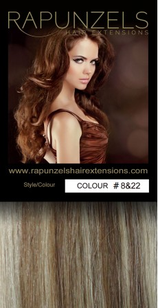 "20 Gram 20"" Hair Weave/Weft Colour # 8&22 Light Brown & Light Blonde Mix (Colour Flash)"