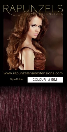 "190 Gram 20"" Clip In Hair Extensions Colour #99J Cheryls Burgundy (14 p/c Deluxe Head)"