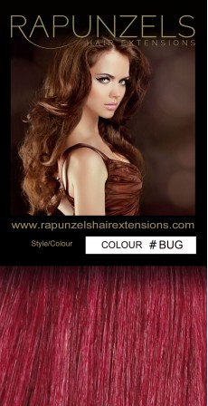 "0.5 Gram 20"" Pre Bonded Nail Tip Colour #HOT BUG Bright Burgundy (25 Strands)"