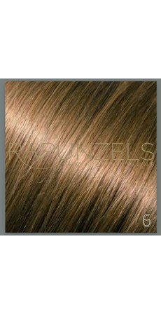 "0.5 Gram 16"" Pre Bonded Nail Tip Colour #6 Light Chestnut Brown (25 Strands)"