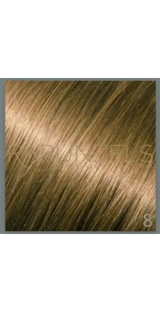 "0.5 Gram 16"" Pre Bonded Nail Tip Colour #8 Light Golden Brown (25 Strands)"